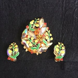 Vintage Enamel Rhinestone Floral Brooch Earrings